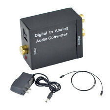 Digital Toslink Optical Coaxial To Analog RCA L/R Audio Converter + Fiber Cable
