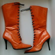 Shellys orange boots vintage/retro real leather size uk 6 eu 39 lace up heels