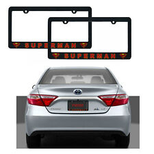 New DC Superman Classic Logo Plastic License Plate Frame MADE IN USA 2 pcs Set