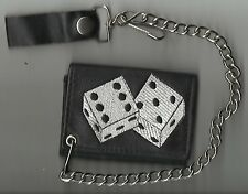 """Leather Trifold Trucker Biker Chain Wallet Black """"Dice"""" Made In USA"""