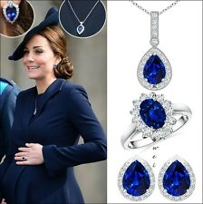 Kate Middleton Inspired Women 925 Silver Pendant Earrings Ring Jewelry Set