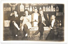 Real Photo Postcard Man & Four Women Drinking in a Photo Studio Saloon~104531