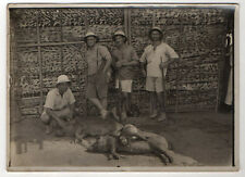 PHOTO ANCIENNE - Chasseurs Sanglier Singe Fusil Animal mort GABON Safari Vintage