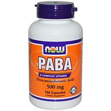 NOW FOODS - PABA - 500mg x 100 CAPS - VITAMIN B - HEALTHY HAIR, SKIN & NAILS