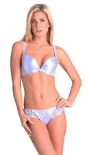Splendour Lilac Satin Designer Push Up Bra 34C Thong Medium 12 Set
