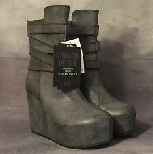 H&M Dragon Tattoo Trish Summerville Grey Platform Boots UK 5 Goth Punk Grunge