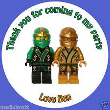Personalizzato Lego Ninjago Drago 37mm COMPLEANNO ADESIVI PARTY grazie