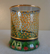 MACKENZIE CHILDS PICCADILLY CIRCUS TULIP DOTS OLD FASHIONED GLASS TUMBLER GOLD