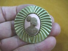 (CA10-16) RARE African American LADY brown + pink CAMEO Pin Pendant JEWELRY