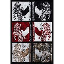 "Fabric Roosters Farm Bonjour Blacks Red Gray Blocks Cotton 1 Panel 23""x42"""