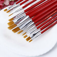 12X Acrylic Artist Watercolor Hair Supplies Painting Set Brush Paint Oil Nylon