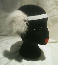 Gran Gatsby Diamante Pearl & Feather blanco elástico 1920 hair piece Head Band