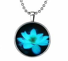 Vogue Punk Style Lotus Flower Glow in the Dark Stainless Steel Necklace Pendant
