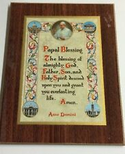 "Papal Blessing Pope John Paul II  wood plaque picture prayer 9""x7"" religious"