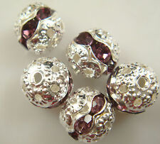 8mm 5pcs Czech champagne Crystal Rhinestone Silver Rondelle Spacer Beads s1ks