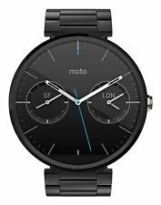 Motorola Moto 360 46mm AndroidWear Stainless Steel Black Metal Band Smart Watch