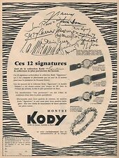 ▬► PUBLICITE ADVERTISING AD Montre Watch KODY Signatures 1954