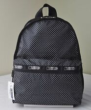 LeSportsac Black White Jet Set Pin Dot 7812 Basic Backpack