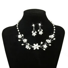 Phenovo Bridal Wedding Jewelry Beaded Pearl Rhinestone Necklace Earring Set