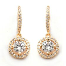 Banquet Jewelry Earrings 24K Gold Filled Round C.Z Stone Women's Hoop Earrings