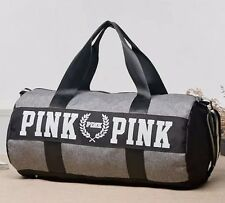 New Victoria's Secret PINK Grey Canvas Yoga Duffle Bag School Holiday Gym Travel