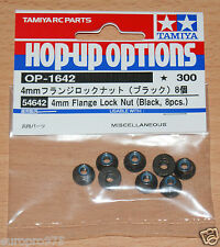 Tamiya 54642 4mm Flange Lock Nuts (Black, 8 Pcs.) (Wheel Nuts/TT01/TT02/DT02)