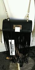 Like Dreams Solstice crossbody black/white purse with suede fringe $65