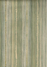 Tan and Green Stria Striped and Knotted Rope Striped Wallpaper - TS38084