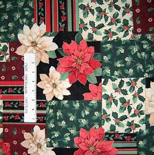 """Christmas Fabric - 22x54"""" Holiday Poinsettia Holly Patch - Marcus Bros"""