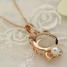 Hot Women 18K Gold Plated Opal/Cat Eye & Pearl Pendant Chunky Bib Chain Necklace