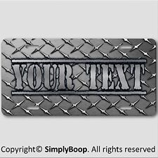 Your Text Name Personalized Vanity License Plate Black DIAMOND PLATE Look New 1