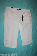 Womens WHITE CAPRIS Cinch Tie Legs REAR POCKET EMBROIDERY Leg Pocket SKIMMER 16