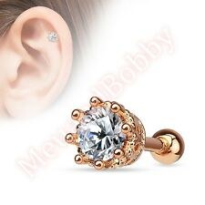 16G Prong CZ Tragus Cartilage Barbell Piercing Stud Ear Ring Body Jewellery