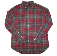 RALPH LAUREN POLO BUFFALO WESTERN SHIRT LONGSLEEVE BRICK RED PLAID $98