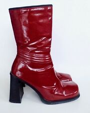 vtg 90s Unlisted Cherry Red Faux Patent Leather Platform High Heel Boots 9 M