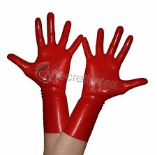LATEX HOT RED GUM SHINY WRIST GLOVES HANDS RUBBER FETISH SKIN COSPLAY ADULT BODY