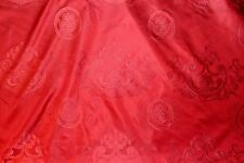 "100% SILK DAMASK ITALIAN FABRIC BURGUNDY COLOR 54"" UPHOLSTERY P71502 BY THE YARD"