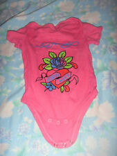 CLEARANCE! Pink Baby Ed Hardy bodysuit Jumpsuit S  *Free Post