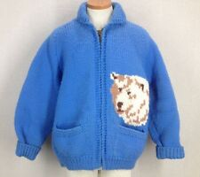 Rare 1960s Polar Bears Blue Wool Shawl Collar Cowichan Sweater Rockabilly