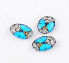 Glass cabochon 18x13 mm with blue butterfly  4 pcs