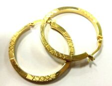 """sterling silver  solid 925  round Hoop Earrings beautiful 1.25"""" long gold toned"""