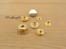 snap fastener poppers Press stud Snap Buttons zinc light gold 12 sets 15mm  K102