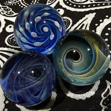 Set of 3 22-25 MM Hand Made Glass Implosion Vortex Wave Art Marbles
