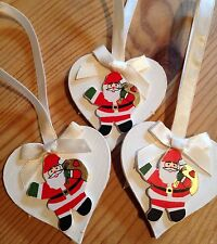 3 X Handmade Christmas Decorations Santa Shabby Chic Wood Heart Cream Ribbons