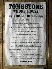 "(657) OLD WEST BROTHEL TOMBSTONE WHORE HOUSE RULES NOVELTY AGED POSTER 11""x17"""