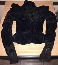 Antique Victorian Velvet Lace Corset Blouse 1800s