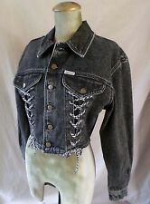 GUESS made USA vintage 80s black denim cropped lace jean jacket MEDIUM