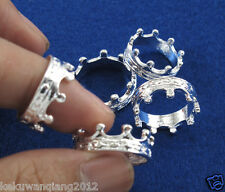 Simple Fashion 5pcs Silver Crown Rings Mix 6#-9# Wholesale lots New