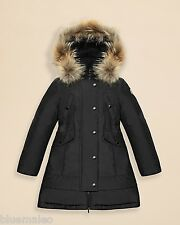 Authentic Moncler Girl's Arrious Fur-Trimmed Long Coat Size 12