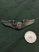 """WW2 ERA USAAF GLIDER PILOT WINGS AIRCRAFT 3"""" STAMPED STERLING PIN BACK"""